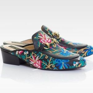 Leather Colombian Tache Embroidered Floral Mules
